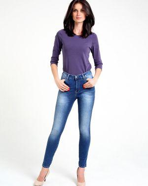 Зауженные пляжные джинсы с высокой посадкой стрейч с пайетками F5