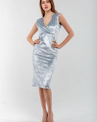 Велюровое серое платье Modniy Oazis