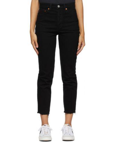 Skórzany czarny jeansy do kostek z łatami z kieszeniami Re/done