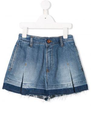 Расклешенные синие кожаные джинсовые шорты Diesel Kids