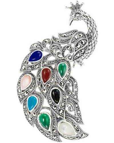 Серебряная брошь с камнями синяя марказит
