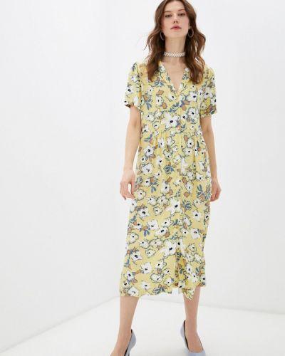 Желтое платье-рубашка Ichi