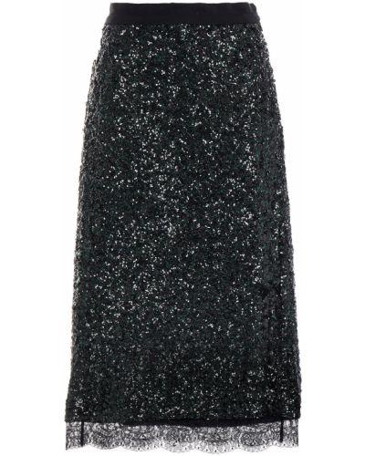 Кружевная юбка миди - черная Coach