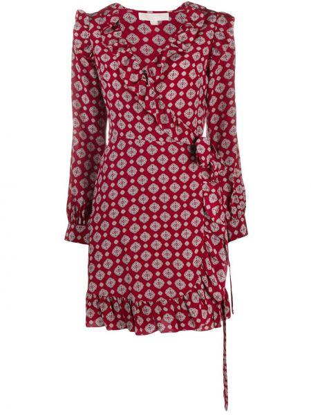 Длинное шелковое бордовое платье с V-образным вырезом Michael Kors