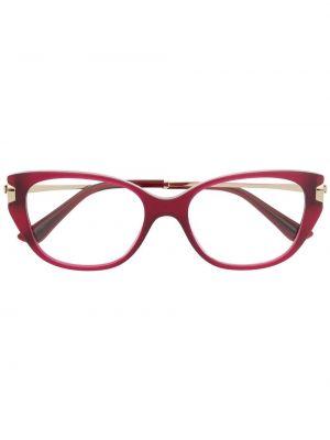 Прямые красные очки кошачий глаз металлические Bvlgari