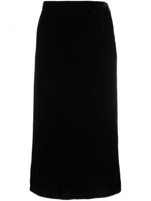 Шелковая черная с завышенной талией юбка Rochas