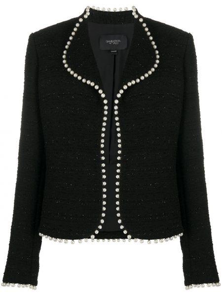 Хлопковый черный удлиненный пиджак свободного кроя Giambattista Valli