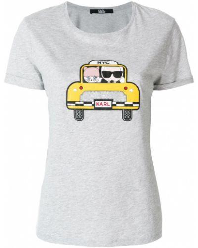 Серая футболка хлопковая Karl Lagerfeld