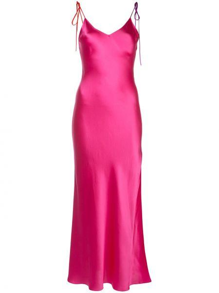 Różowa sukienka z jedwabiu z dekoltem w serek Dannijo