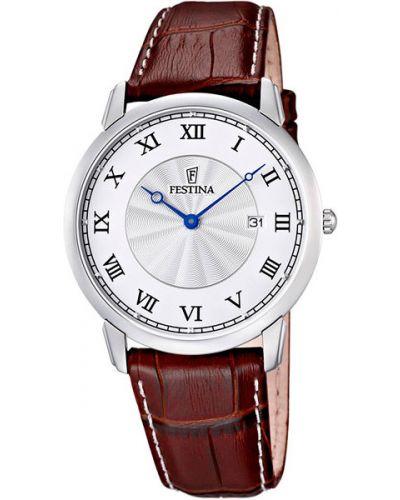 Часы на кожаном ремешке кварцевые водонепроницаемые Festina