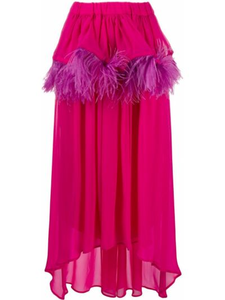 Розовая асимметричная юбка с поясом с перьями Christian Pellizzari