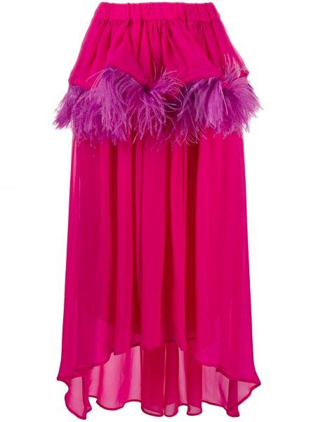 Асимметричная розовая шелковая юбка Christian Pellizzari