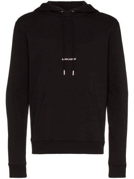 Czarna bluza kangurka z kapturem bawełniana Saint Laurent
