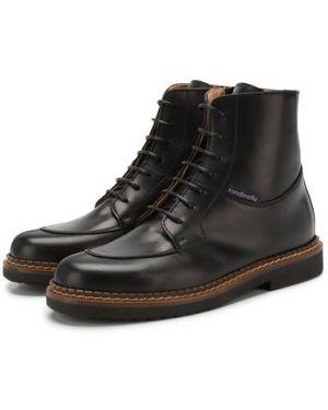 Повседневные кожаные черные ботинки на молнии Rondinella