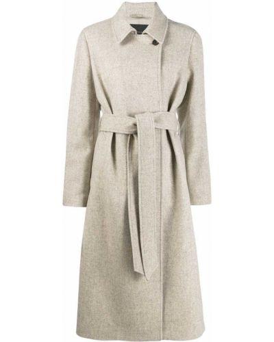 Бежевое пальто классическое с поясом с воротником Frenken