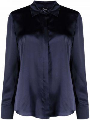 Синяя сатиновая рубашка с длинным рукавом на пуговицах Carine Gilson