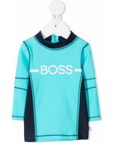 Синий спортивный топ с воротником на кнопках Boss Kidswear