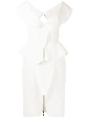 Biała sukienka z dekoltem w serek Maticevski