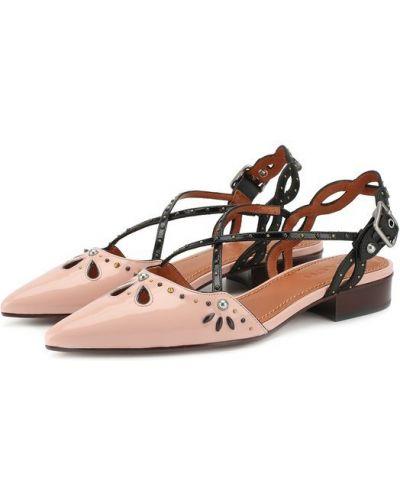 Кожаные туфли на каблуке лакированные Coach