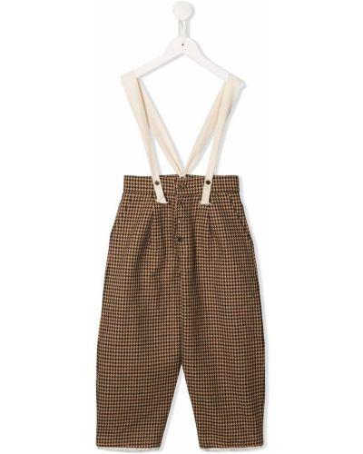 Brązowe spodnie z wysokim stanem bawełniane Little Creative Factory Kids