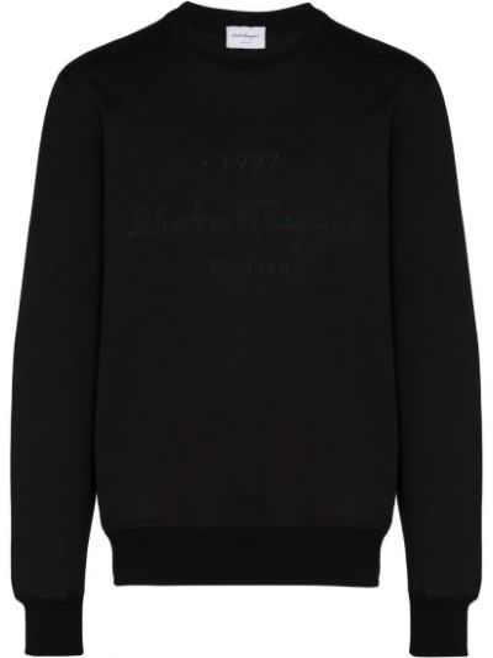 Czarna bluza z haftem bawełniana Salvatore Ferragamo