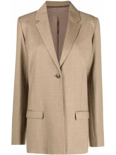 Шерстяной бежевый однобортный пиджак Toteme