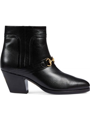 Skórzany czarny buty na pięcie na pięcie Gucci