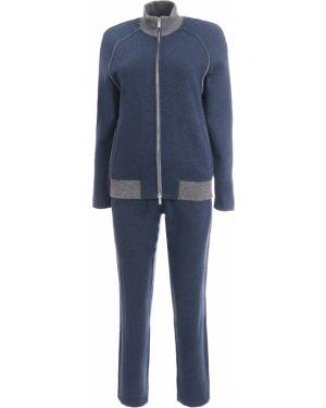 Синий бархатный спортивный костюм с поясом Capobianco