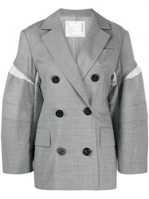Серый удлиненный пиджак двубортный с карманами Sacai