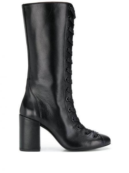 Черные сапоги на высоком каблуке на шнуровке круглые Maison Ernest