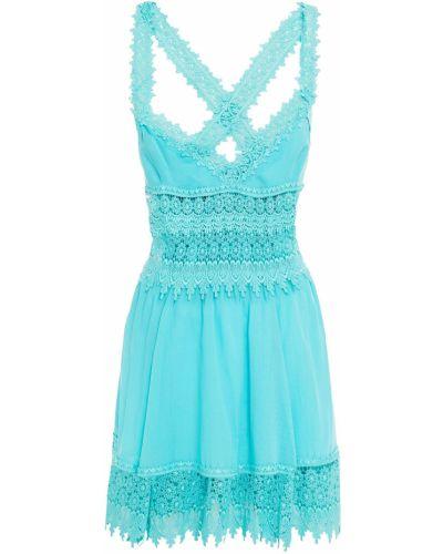 Хлопковое бирюзовое кружевное платье мини Charo Ruiz Ibiza