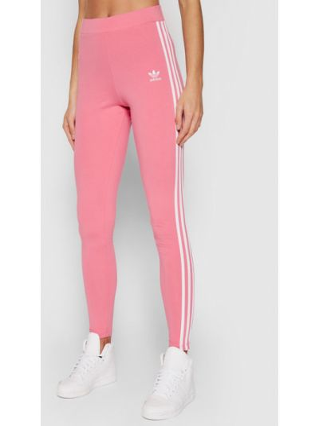 Różowe spodnie w paski Adidas