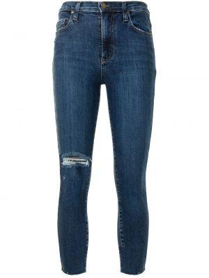 Хлопковые синие укороченные джинсы на молнии Nobody Denim