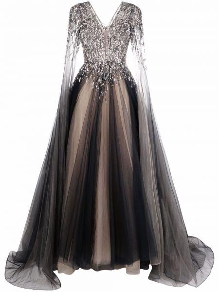 Czarna sukienka z dekoltem w serek Jenny Packham