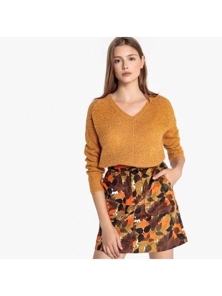 Малиновый с рукавами пуловер с V-образным вырезом из мохера Sud Express