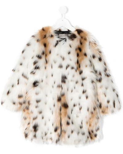 С рукавами акриловое белое длинное пальто с вырезом Ermanno Scervino Junior