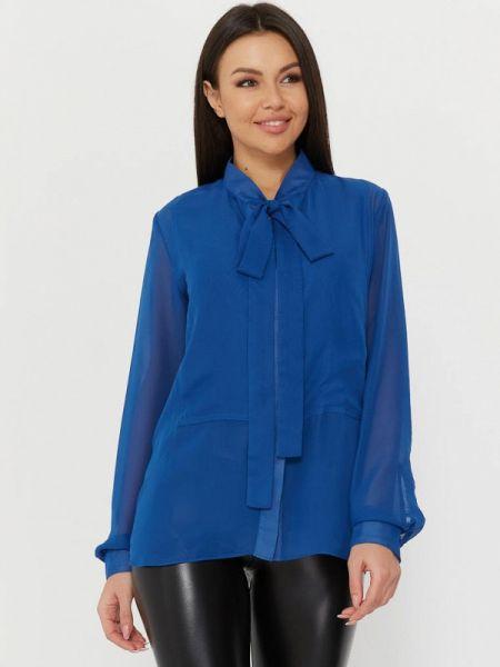 Синяя блузка с бантом Madlen