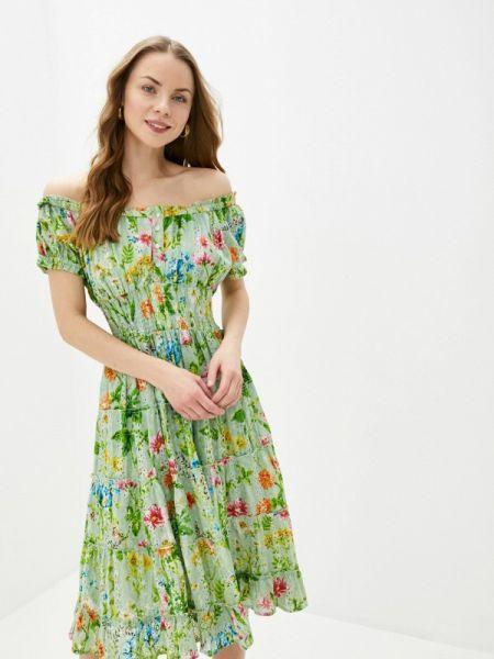 Платье с открытыми плечами зеленый Fresh Cotton