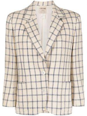 Шерстяной пиджак в клетку на пуговицах Céline Pre-owned