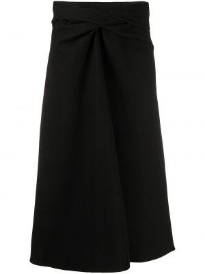 Czarny wełniany z wysokim stanem spódnica midi Lemaire