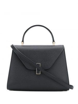 Кожаная черная сумка-тоут на молнии с карманами Valextra