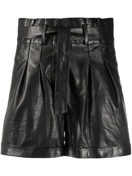 Кожаные черные шорты со складками с высокой посадкой Arma