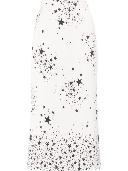 Белая юбка миди на молнии в рубчик Miu Miu