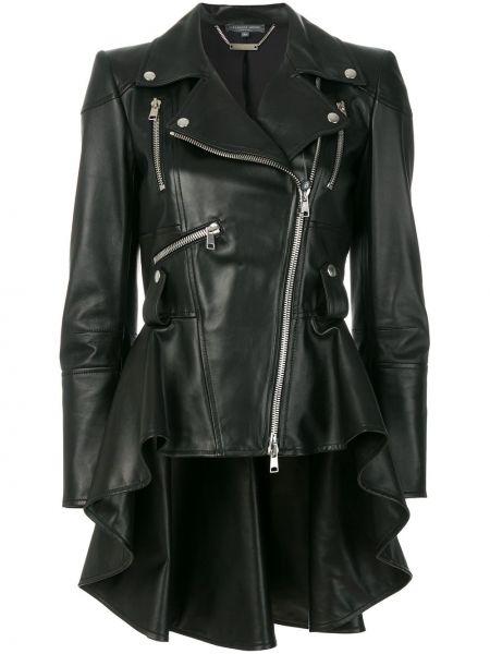 Черная кожаная куртка с подкладкой на молнии байкерская Alexander Mcqueen