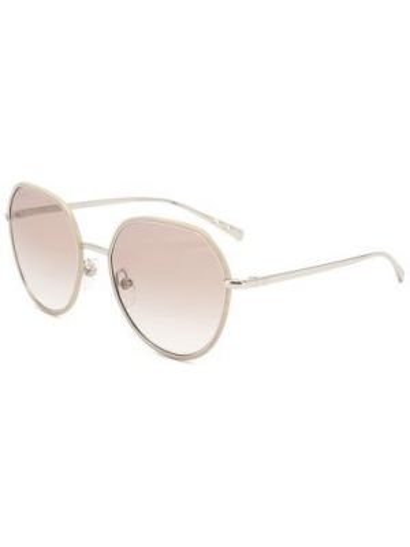 Бежевые солнцезащитные очки круглые металлические Chanel