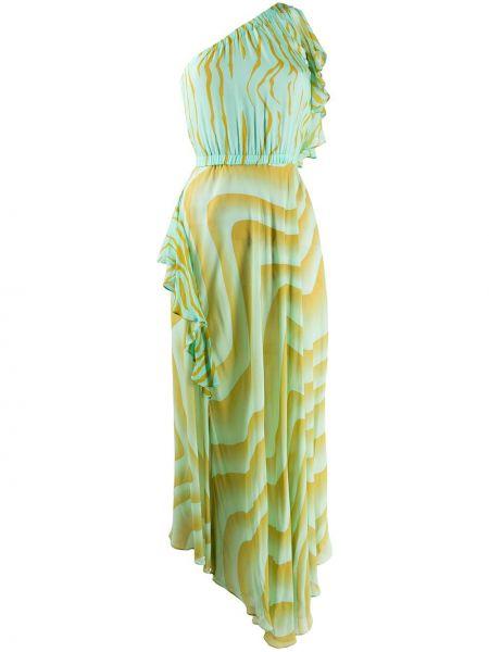 Зеленое платье на одно плечо без рукавов Just Cavalli