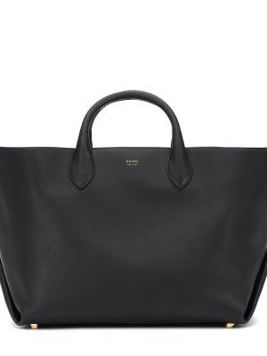 Черная сумка-тоут из натуральной кожи Khaite