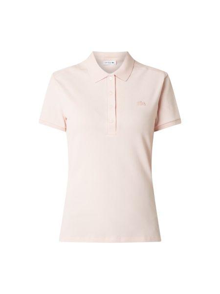 Bawełna różowy t-shirt wąskie cięcie z paskami Lacoste