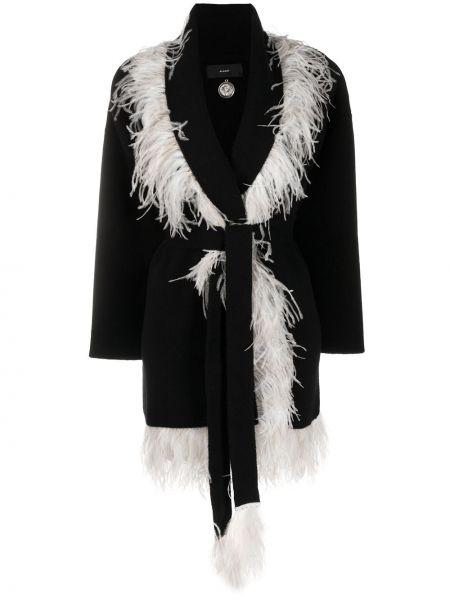 Черное кашемировое пальто с перьями Alanui
