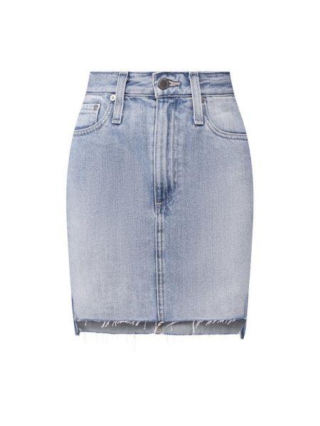 Тонкая синяя джинсовая юбка из плотной ткани Ag